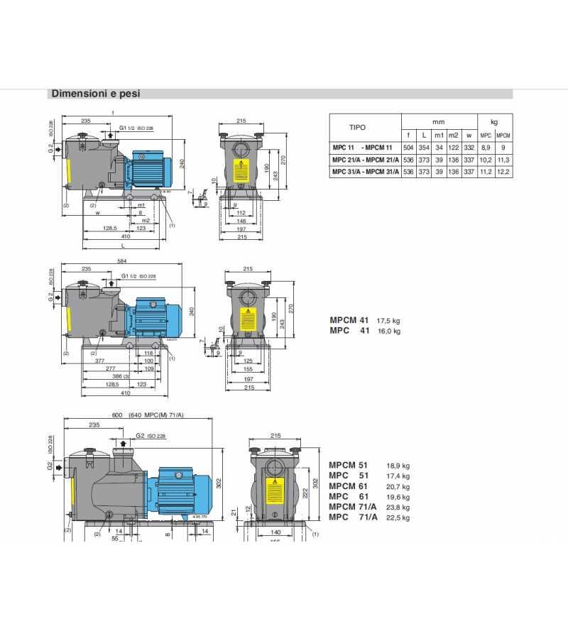 Dimensioni Elettropompa autoadescante per piscina pompa filtro a sabbia filtrazione Calpeda MPCM MPC