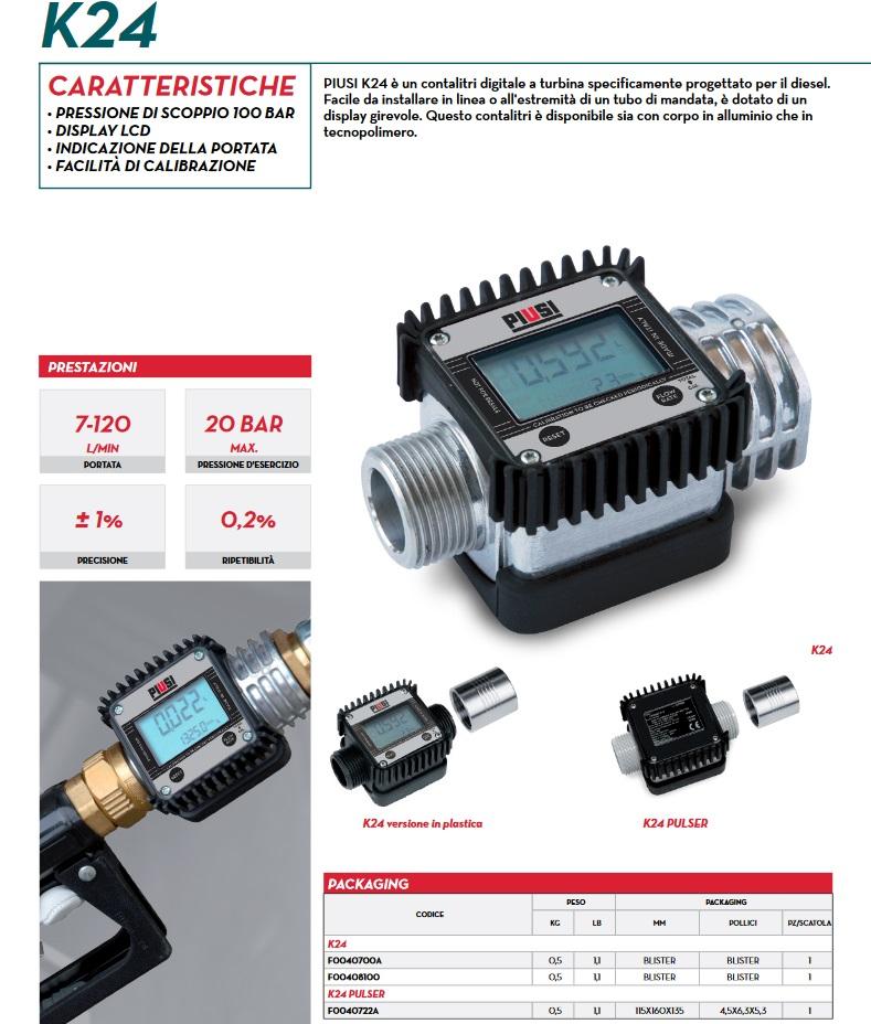 Dettagli Contalitri Gasolio digitale per pistola Diesel olio pompa travaso PIUSI K24