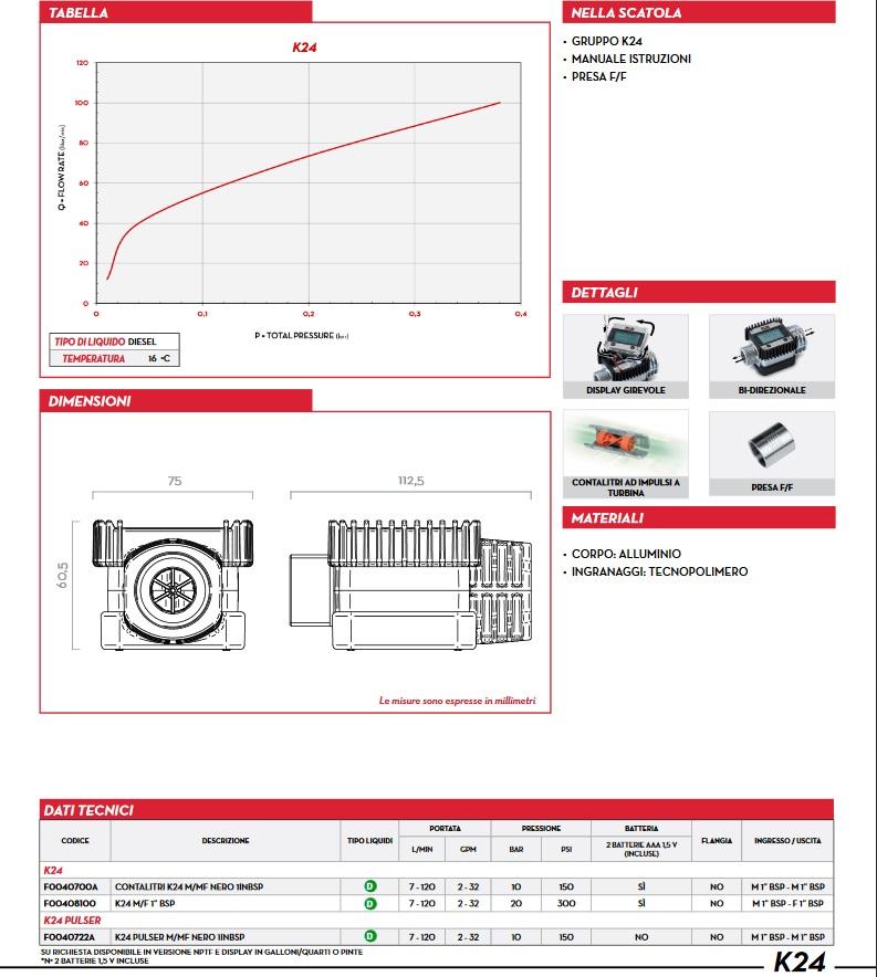 Caratteristiche Contalitri Gasolio digitale per pistola Diesel olio pompa travaso PIUSI K24