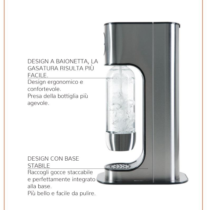 Com'è fatto Gasatore acqua potabile Gas Up Metal lavandino lavello frizzante gasata gassata