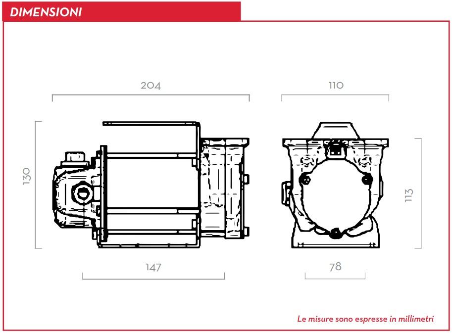 Dimensioni Pompa travaso gasolio 24v 50 l/min Autoadescante BP3000 F00347000