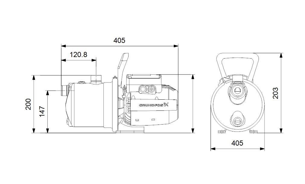 Dimensioni Pompa JET autoadescante 1 Hp elettropompa monostadio JP 3-42 S-BBVP Grundfos