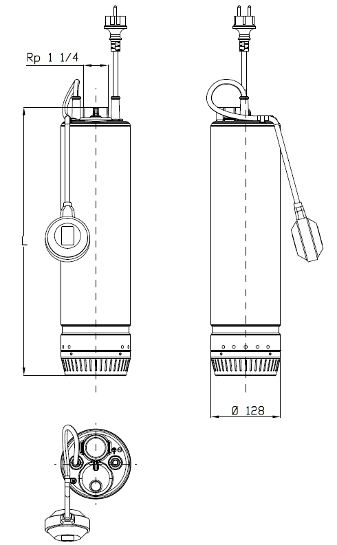 Dimensioni ingombri Elettropompa sommersa monoblocco Scuba 3SC5/07 C serbatoio, pozzi, vasche, cisterne irrigazione autoclave