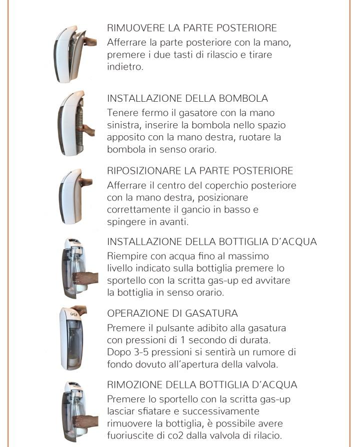 Modo d' uso Gasatore acqua potabile Gas Up lavandino lavello frizzante gasata gassata
