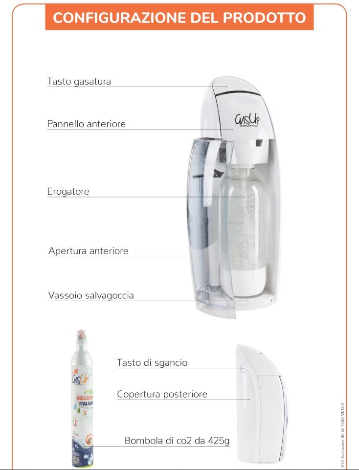 Com'è fatto Gasatore acqua potabile Gas Up lavandino lavello frizzante gasata gassata