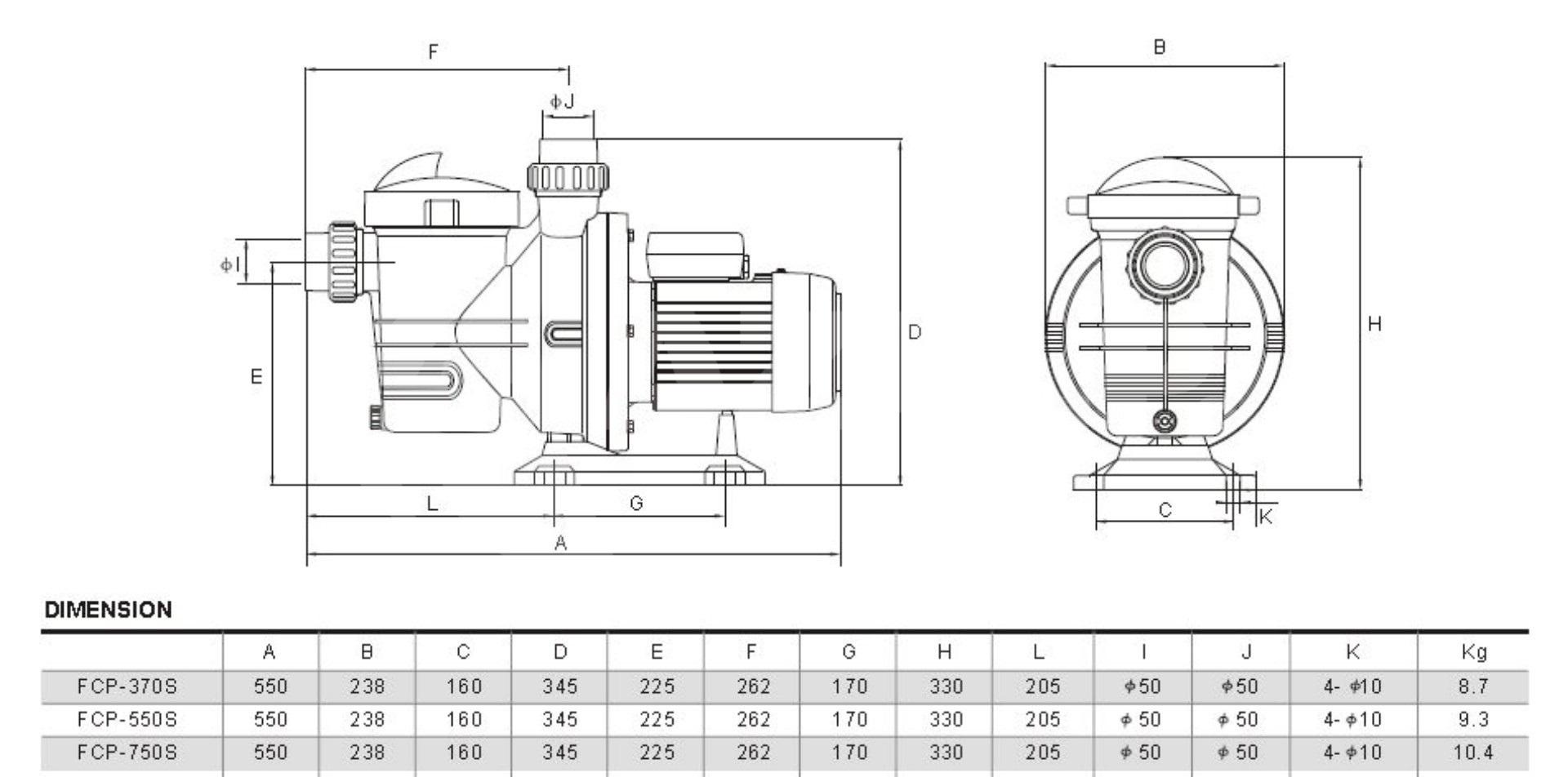 Pesi e diensioni Glong FCP 750S