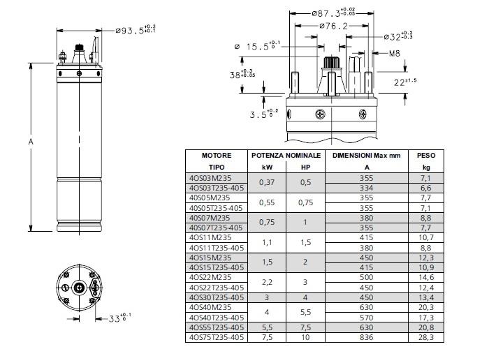 Dimensioni Motore sommerso per pozzi Lowara 4OS per elettropompa sommergibile da 4