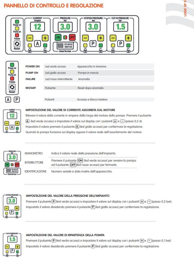 Programmazione e pannello di controllo inverter Logic SP Trevi