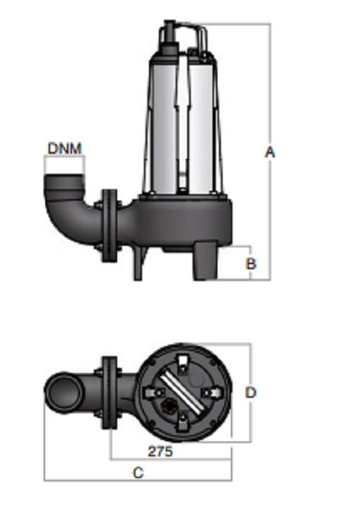 Dimensioni elettropompa per acque sporche ST/65 BBC Semisom