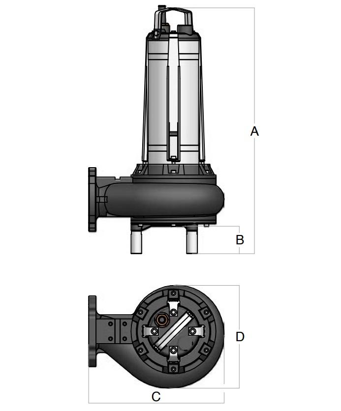 Dimensioni pompa sommergibile Semisom BBC ST/80