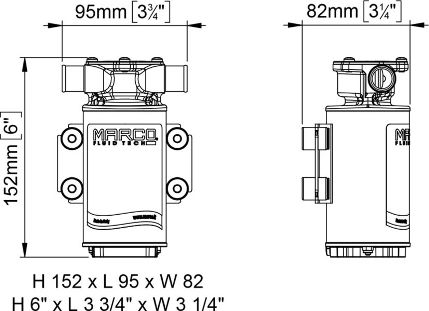 Dimensioni pesi ingombri pompa di sentina UP1 J 12V
