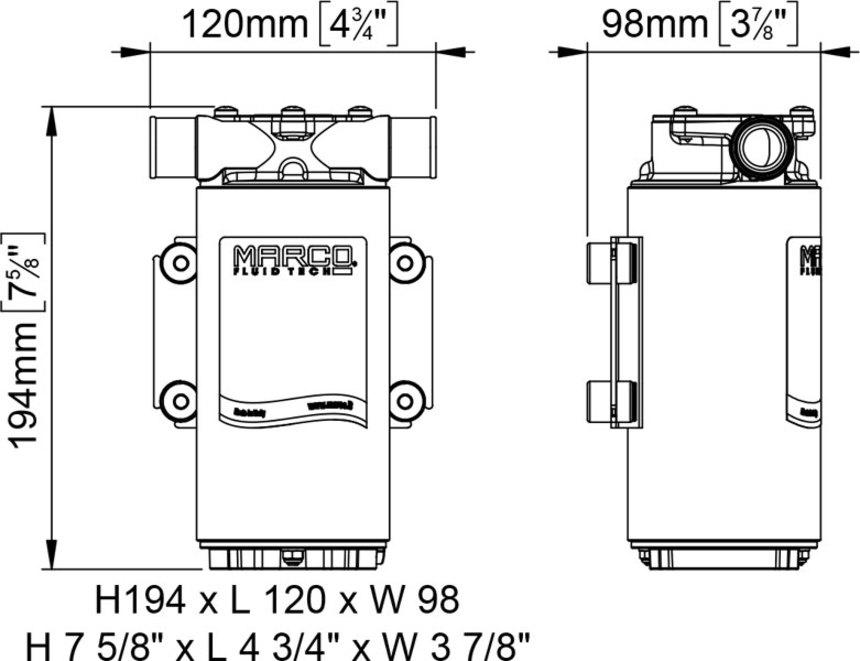 Dimensioni e Ingombri Pompa UP1-M Marco autoadescante sentina travaso 45 l/min 12v