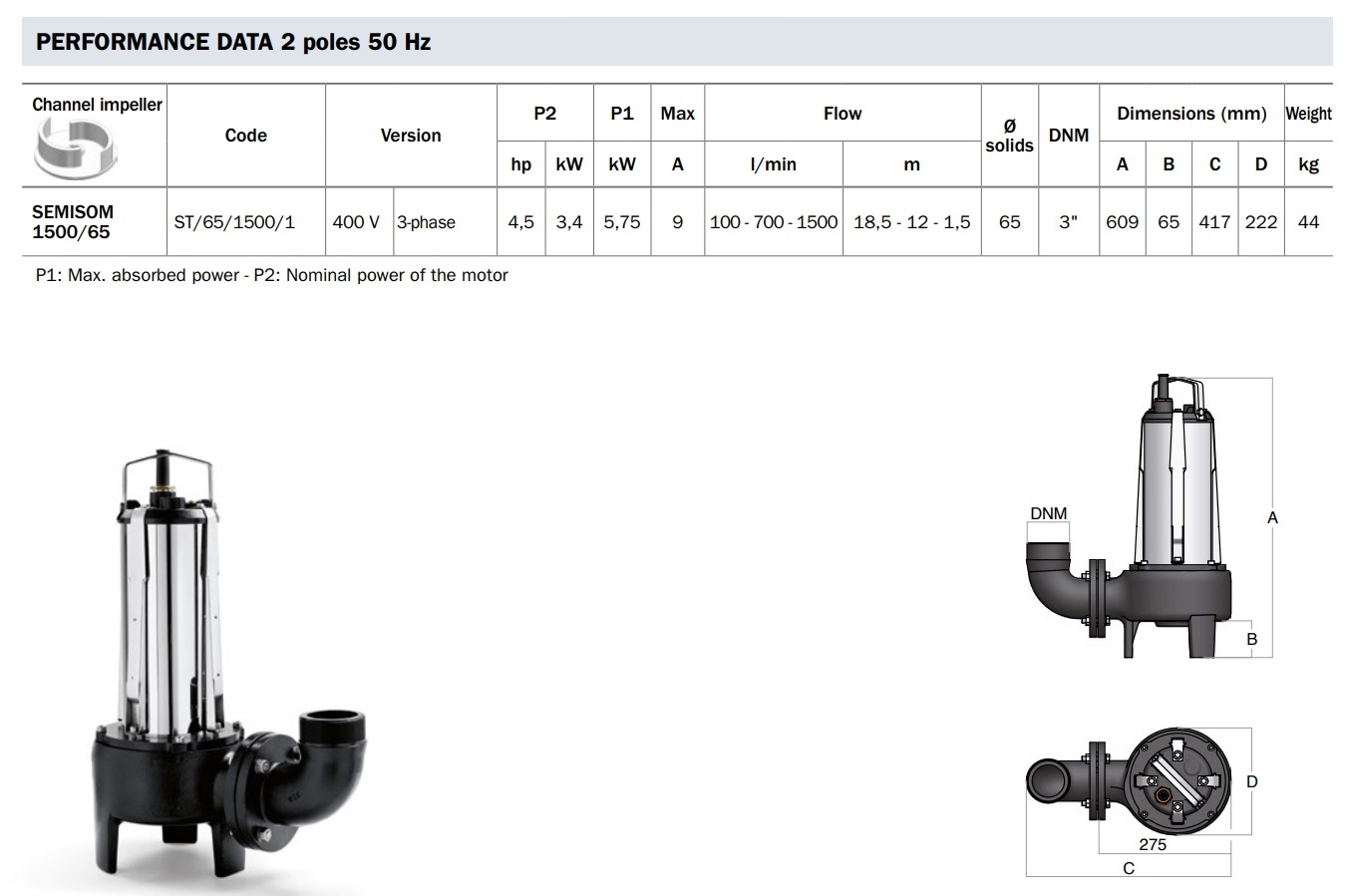 Dimensioni pesi dati elettrici pompa sommersa ST/65 BBC Semisom