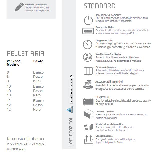 Caratteristiche tecniche stufa pellet Alysa aria Kalon