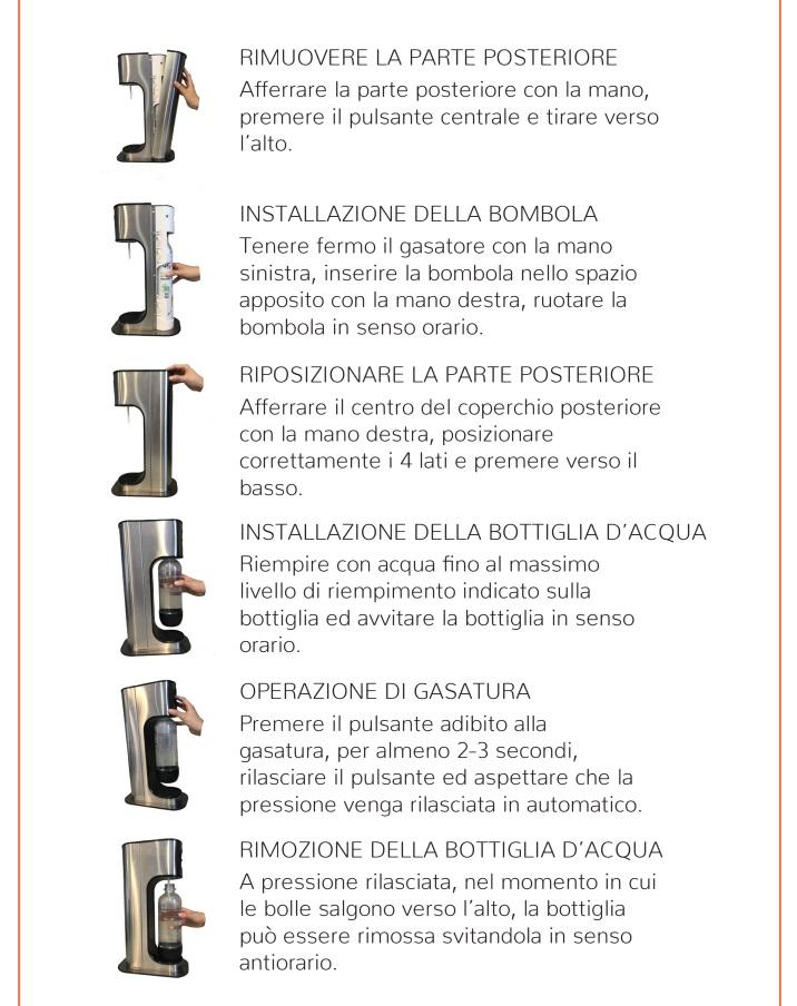 Modo d' uso Gasatore acqua potabile Gas Up iron lavandino lavello frizzante gasata gassata