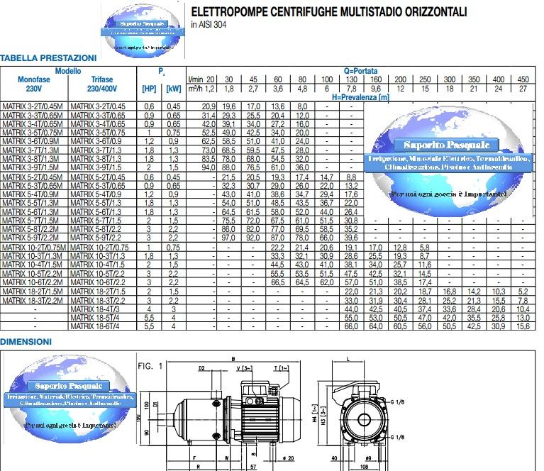 portate prevalenze pompa autoclave monoblocco Ebara matrix